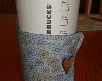 Light Blue Flower Coffee Cup Cozy