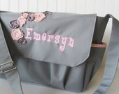 Large Diaper Bag, Messenger Bag, Tote, Shabby Chic, Gray, Pink, Girl, Rosettes
