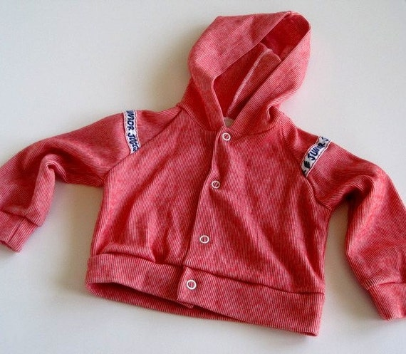 baby boys jacket long sleeved hooded jacket red & white striped vintage 3 months