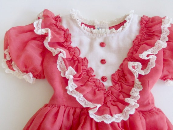 vintage girls dress 2T  needs TLC