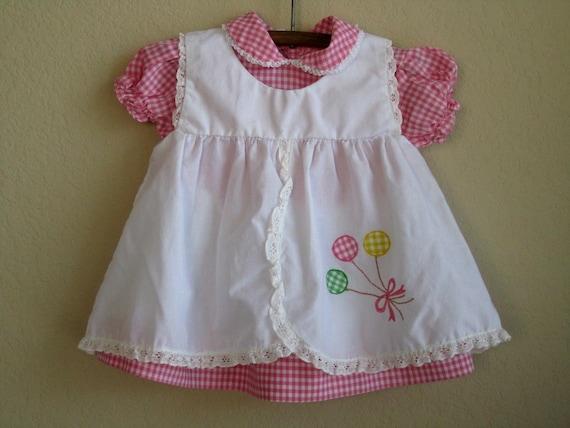vintage baby dress pink gingham 12 months