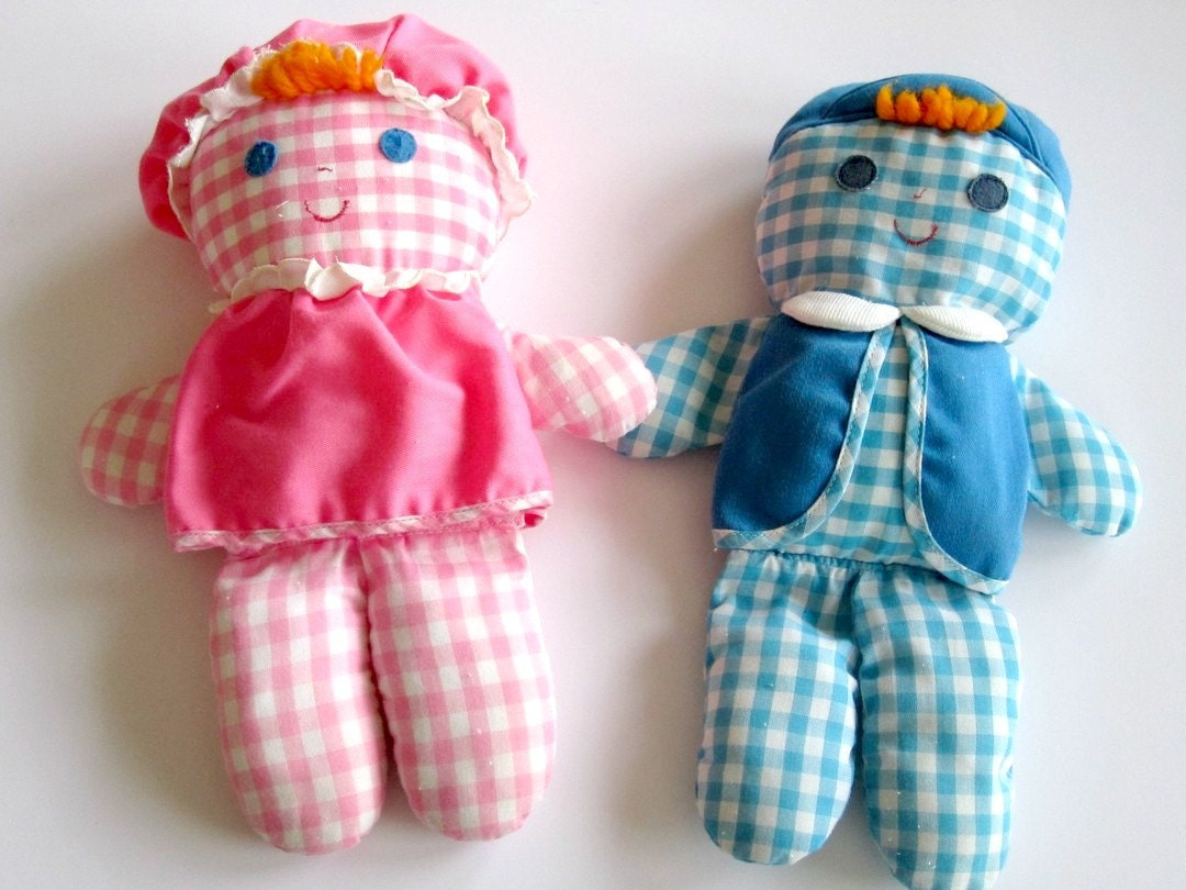 vintage Fisher Price Lolly & Cholly dolls 1970s