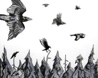 Seven For A Journey - Raven Poem - Archival Art Print