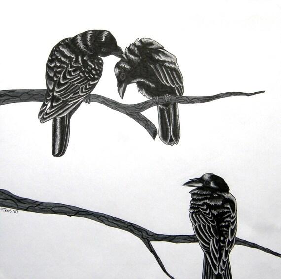 Three For A Wedding - Raven Poem - Archival Art Print