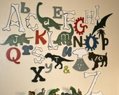 Wooden Alphabet Set,  Dinosaur Letters,  Wood Letters, Hand Finished, Nursery Decor, ABC Wall
