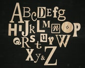 "Unfinished Wooden Alphabet Set in Mixed Fonts and Sizes, Clean and Simple Design 3"" to 14"" tall"