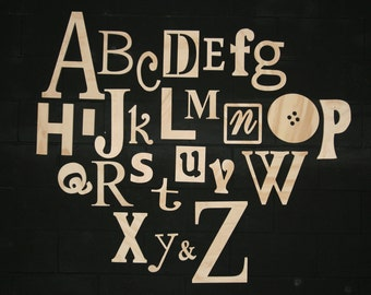 """Unfinished Wooden Alphabet Set in Mixed Fonts and Sizes, Clean and Simple Design 3"""" to 14"""" tall"""