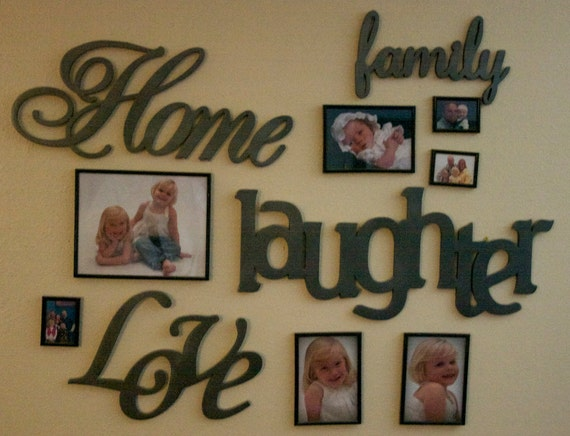 Family Home Laughter Love Photo Wall Words