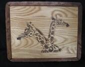 Sale: 50% off - Original Artwork - Handmade/Burned Rustic artwork - Tall Twins