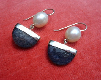 Blue Aventurine, Freshwater Pearl, and Sterling Silver Earrings