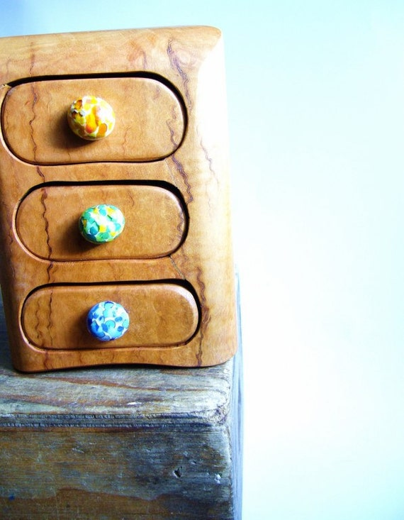 Wooden box bandsaw jewelry recycled timber australian triple drawer glass drawer knob multi colour