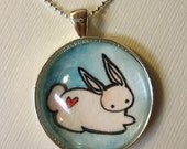 Bunny Rabbit Necklace - Valentines Day Gift - Red Heart