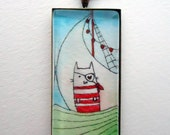 Cat Pirate Jewelry - Hand Painted Pendant - Bronze Necklace
