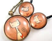 Kitty Cat Necklace And Earring Set - Whimsical Art - Jewelry Set