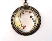Halloween Necklace - Boo Ghost Pendant - Goth Jewelry