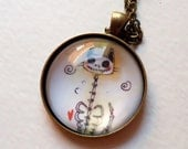 Halloween Skeleton Cat Necklace - Halloween Jewelry - Goth Art Print Pendant