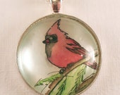 Cardinal Bird In The Snow, Christmas Jewelry, Winter Necklace