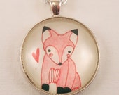Valentines Day Gift, Red Heart And Cute Red Fox Necklace, Woodland Friends