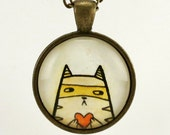 Cat Necklace, Original Watercolor Painting Art Pendant, Cat Stealing Heart
