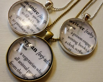 Autumn Accessory - Custom Dictionary Word Necklace On Ball Chain - Dictionary Jewelry