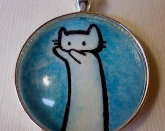 Long Cat Internet Meme (In Blue), Original Watercolor Art Necklace