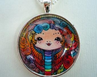 Gothic Rainbow Girl Necklace