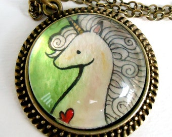 Unicorn Necklace - Art Pendant