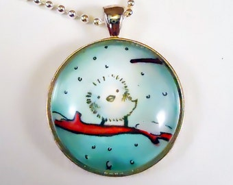 Bird Necklace - Winter or Christmas Art Pendant