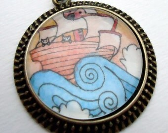 Kitty Cat Pirate Necklace - Hand Painted Pendant