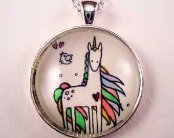 Unicorn Necklace - Hand Painted Jewelry - Whimsical Art