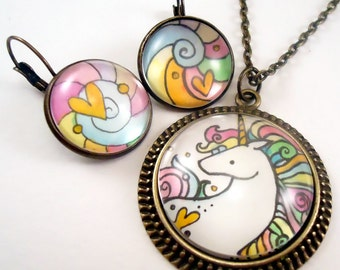 Unicorn Necklace And Earring Set - Hand Painted - Rainbow Color Jewelry Set