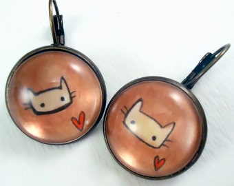 Cat Earrings - Wearable Art