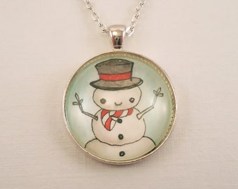 Snow Man Christmas Necklace, Winter Jewelry