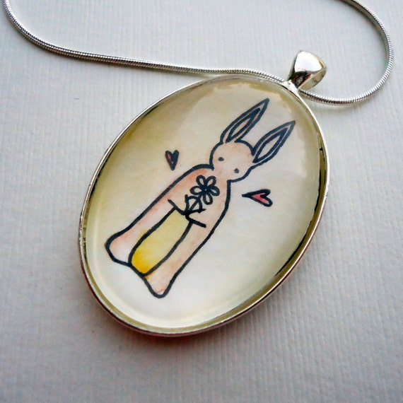 Bunny Rabbit Necklace - Glass Pendant - Art Jewelry