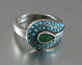 HadarVintage Indian Silver With Turquoise & Emerald Ring (eb117)