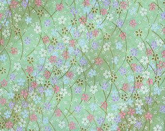 Japanese Yuzen Chiyogami Washi Paper (Floral Design 20) - A4 Sheet