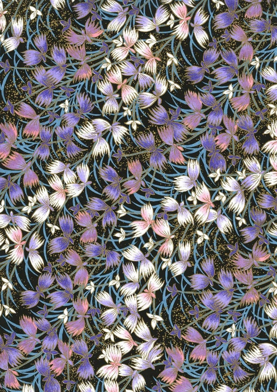 Japanese Yuzen Chiyogami Washi Paper (Floral Design 09) - A4 Sheet