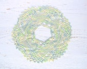 Crochet Fine Round Mint  Doily with hole in the middle