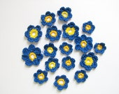 Crochet Indigo Blue Anemone Flowers with yellow middle(20pcs)