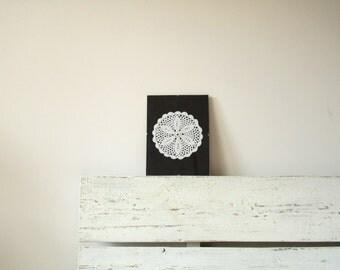 White Crochet home Decor in Frame