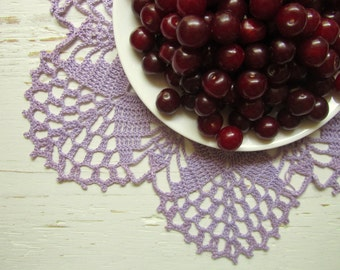 Crochet Lavender Flower Doily (14 inches)