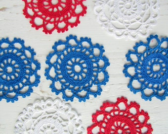 Crochet Bright Red, White and Blue Tea Cup Coaster set
