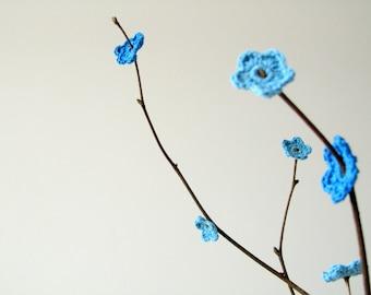 Crochet Blue Anemone Flowers (30 pcs)