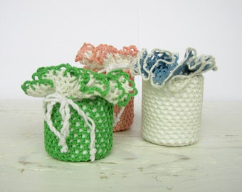 Crochet Tiny Vase for Table Decoration(set of 3)