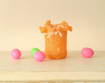 Peach Crochet Candle holder