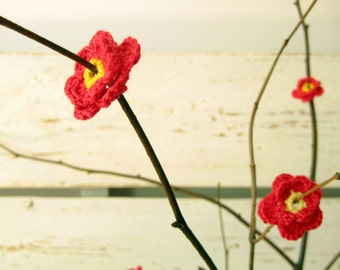 Crochet Red with yellow Middles Full Anemone Flowers(8pcs)