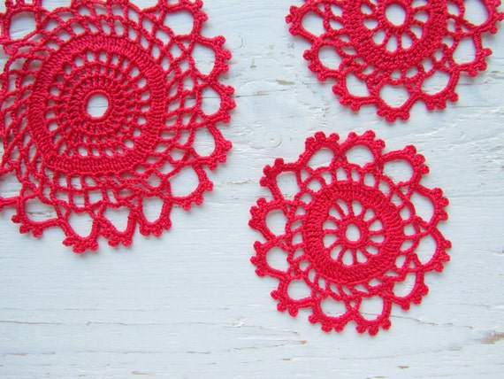 Crochet Red Tea Cup Coaster set