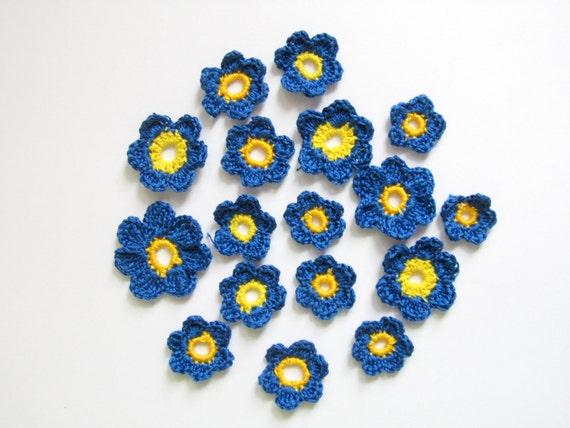 Crochet Indigo Blue Anemone Flowers with yellow middle(20pcs)