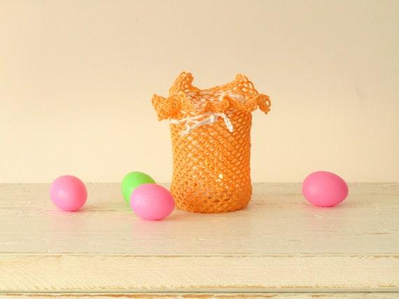 Peach Crochet Candle holder