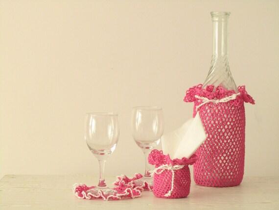 Raspberry Pink Wine Bottle Cozy set